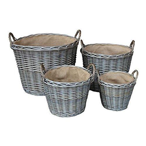 Set of 4 Antique Wash Finish Wicker Lined Log Baskets