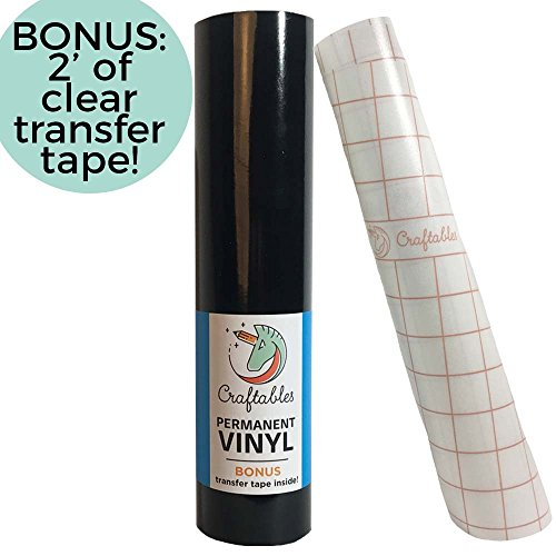 Craftables Black Vinyl Roll - Permanent, Adhesive, Glossy & Waterproof | 12 x 10 | w/Premium Clear Transfer Tape - for Crafts, Cricut, Silhouette, Expressions, Cameo, Decal, Signs, Stickers