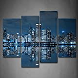 new york and paris wall art - First Wall Art - Blue Cool Buildings In Dark Color In Chicago Wall Art Painting The Picture Print On Canvas City Pictures For Home Decor Decoration Gift