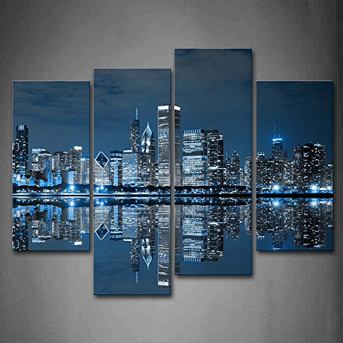 First Wall Art - Blue Cool Buildings In Dark Color In Chicago Wall Art Painting The Picture Print On Canvas City Pictures For Home Decor Decoration Gift (Best Navy Blue Paint Color)