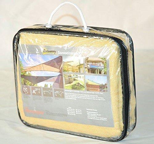 Outsunny Tenda Parasole Protezione Solare HDPE Triangolare Beige, 3/x 3/x 3/m 4/Colori e 7/Misure
