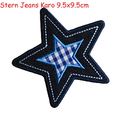 2 iron on patches Star Jeans diamonds 9.5x9.5 and Horse 9 - embroidered fabric appliques set by TrickyBoo Design Zurich