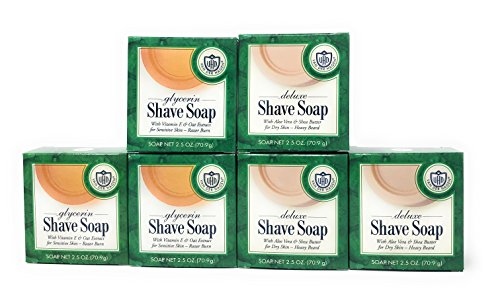 Luxury Shaving Soap Refill (Van Der Hagen Shave Soap (6 Count, 2.5 Oz Cakes) Variety Bundle - Deluxe (3 PK) and Glycerin (3 PK))