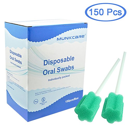 Disposable Oral Foam Swab Plum Blossom Shaped, Untreated and Unflavored By Munkcare, box of 150 counts (Green)