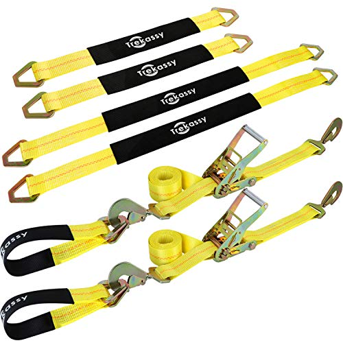 Trekassy Car Axle Tie Down System with 2 Ratchet Straps 8' x 2