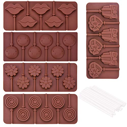 Ancefine 5 Pieces Silicone Chocolate Lollipop Mold with 30 Pieces Lollipop Sucker Sticks for Hard Candy Making