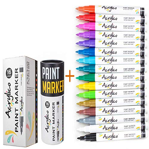 Acrylic Paint Pens by Acrylico Markers : 16 Acrylic Paint Markers Extra-fine Tip Set|Water Resist, Fast Drying Non-Toxic Paint Markers for Canvas Ceramic, Wood, Glass, Fabric & Rock Painting