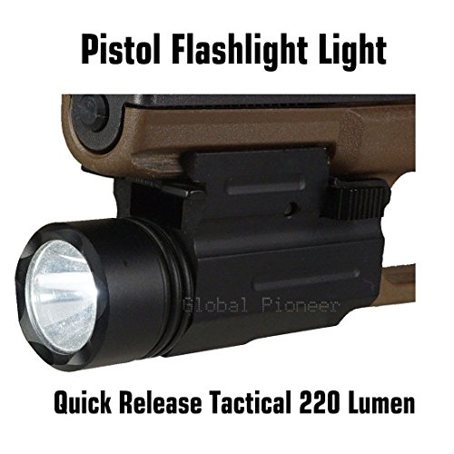GlobalPioneer® Quick Release Tactical 220 Lumen Led Powered Pistol Flashlight Light ()