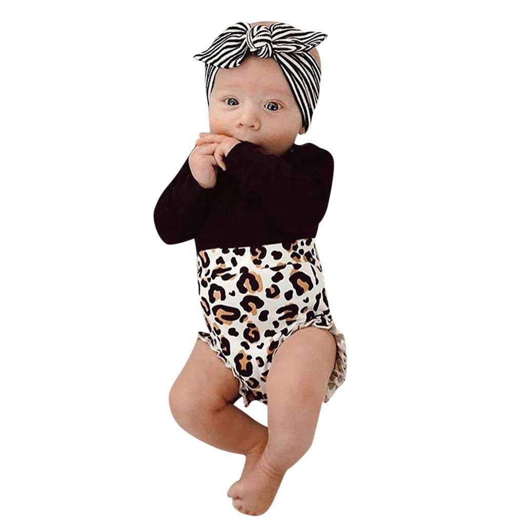 NUWFOR Toddler Kids Baby Girl Infant Clothes Romper Tops Leopard Print Pants Outfits(Black,12-18 Months)
