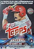 2018 Topps Baseball Series #1 Unopened Blaster Box with 10 Packs and One EXCLUSIVE Commemorative MLB Players Weekend Patch Card