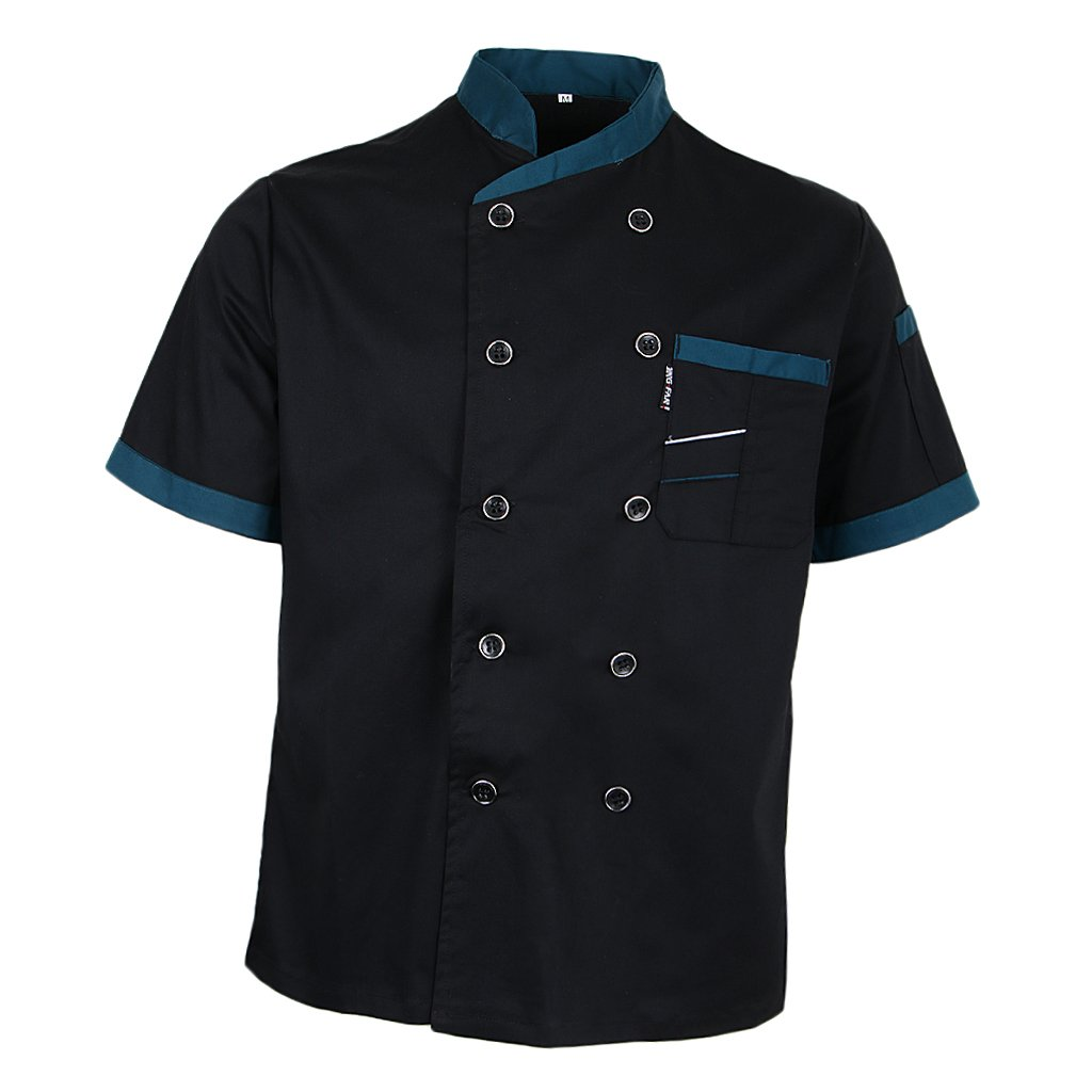 Prettyia Unisex Summer Breathable Executive Chef Jacket Coat Kitchen Bakery Uniform Short Sleeves 5 Colors Chef Apparel M-2XL - Black, M