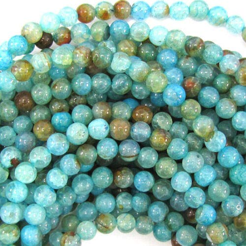 (Blue Crab Fire Agate Round Beads Gemstone 14.5