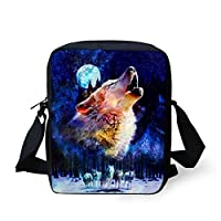 Xinind Cute Animal Printing Shoulder Bag Teenage Cross Body Bag Durable Lightweight Fashion (wolf)
