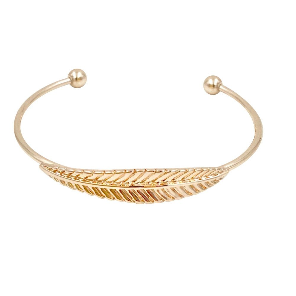 BellaMira 'You are my angel' 18K Rose Gold Feather Earrings Necklace Bangle Bracelet Adjustable Fine Jewellery For Women Girls In Retail Gift Box … (Feather Bracelet - Rose Gold)