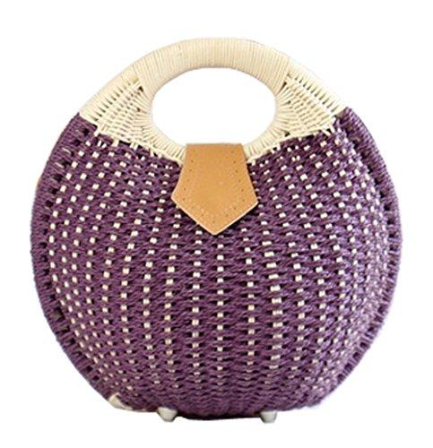 Paille mode 1 violet à Femmes Tendances main HopeEye 3 la de Sacs Femme dcbb04 White ICXg6qw