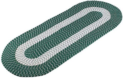 Braided Rug Runner, Traditional Rustic Reversible Oval Braided Accent Rug 24 Wx60 L, Washable Braided Indoor Outdoor Area Rug Floor Carpet for High Traffic Areas Green Runner