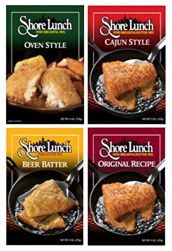 Variety Pack of 4 - Shore Lunch Chicken & Fish Breading/Batter Mixes, Cajun, Oven, Beer Batter & Original Recipe
