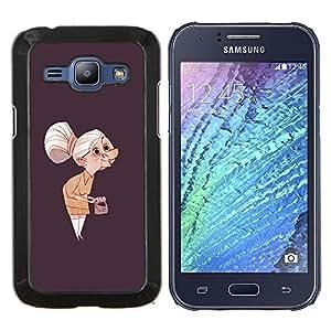 LECELL--Funda protectora / Cubierta / Piel For Samsung Galaxy J1 J100 -- Granny Old Lady Pintura Arte Clutch Gris Cabello --