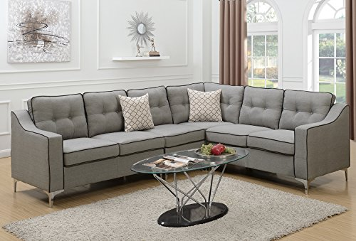 Poundex F6888 Bobkona Adalia Sectional Set, Light Grey - 3-Seater can be on the right or left side Seat Cushion Filled with foam and inner Spring for durability and comfort Interlocking insert to keep all pieces together - sofas-couches, living-room-furniture, living-room - 51TYwkv YrL -