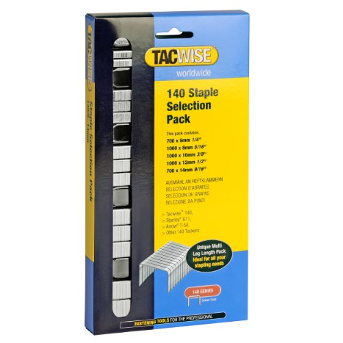 Tacwise 140 1/4 Inch to 9/16 Inch Staple Selection Pack for Hand/Hammer Tackers (compatible with Staples type G11 & T50), Box of 4400 (0350) (Hammer Tacker Staple Gun)