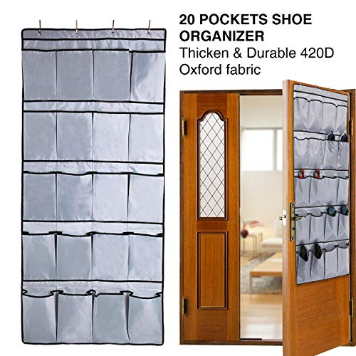 GEMITTO Over The Door Shoe Organizer, Upgraded 20 Large Pockets, Heavy Duty 420D Oxford Fabric Hanging Shoe Organizer with 4 Mental Hooks for Door Shoe Storage Gray(62.21x 27.96)