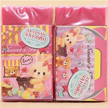 Goma de borrar kawaii rosa peluches oso conejito de Japón