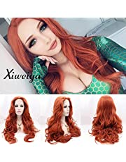 Xiweiya Auburn Long Cooper Red Wavy Wig Middle Part Synthetic Lace Front Wigs With Heat Resistant Fiber Red Color Long Soft Nature Wave Wig for Women, Drag Queen Cosplay Mera Aquaman Wig 24 Inch