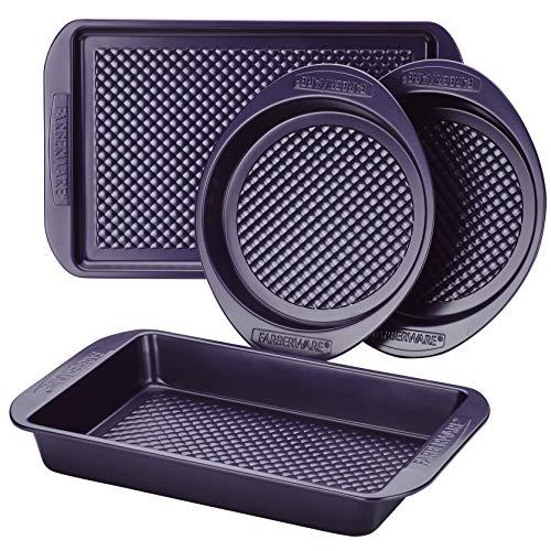 Farberware Nonstick Bakeware Set with Nonstick Cookie Sheet/Baking Sheet, Baking Pan and Cake Pans – 4 Piece, Purple