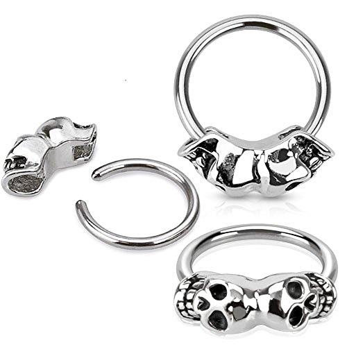 Twin Skull 316L Surgical Steel Captive Bead Ring Septum Hanger 16g sold individually - Skull Septum Ring
