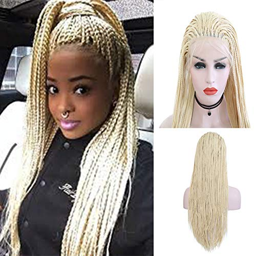 Blonde Long Wig With One Braid - Rongduoyi Micro Braided Lace Front Wig