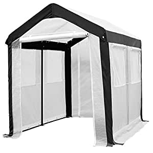 Abba Patio 6 x 8-Feet Large Walk in Fully Enclosed Lawn and Garden Greenhouse with Windows, White