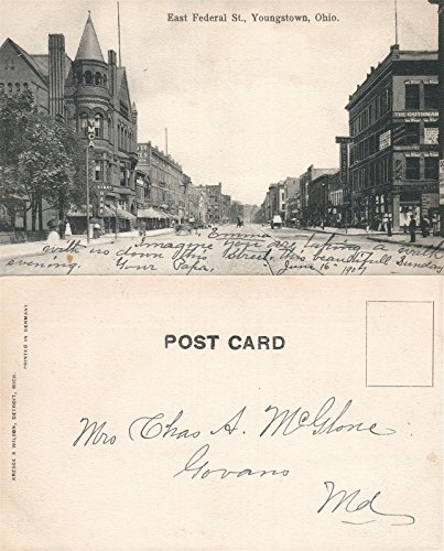 Youngstown Oh East Federal Street Undivided Antique Postcard