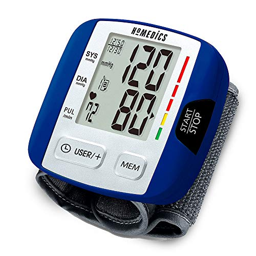 Automatic Blood Pressure Monitor, Wrist | Smart Measure Technology | Battery Powered, One-Touch Operation | Irregular Heartbeat and Excessive Body Motion Detection, Memory Average Function | HoMedics ()