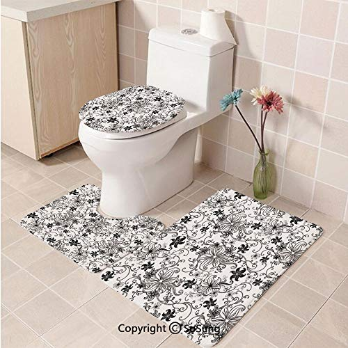 3pcs/Set Floral Style Soft Comfort Flannel Toilet Mat,Flowers Leaves Twirled Swirls Buds Ethnic Nature Romantic Design Artwork Print,Plush Bathroom Decor Mat with Non Slip Backing,Black and White