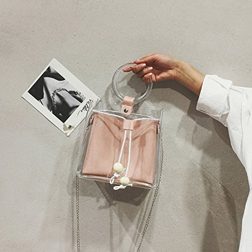 The Pink Of Style Slanting Fashion Single Handbag Version Handbag New Bag Shoulder Bag 2018 Summer Pvc Chain Korean IxXFfgT
