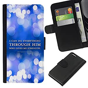 EJOY---La carpeta del tirón la caja de cuero de alta calidad de la PU Caso protector / Apple Iphone 5C / --BIBLIA Filipenses 4:13 Todo lo puedo
