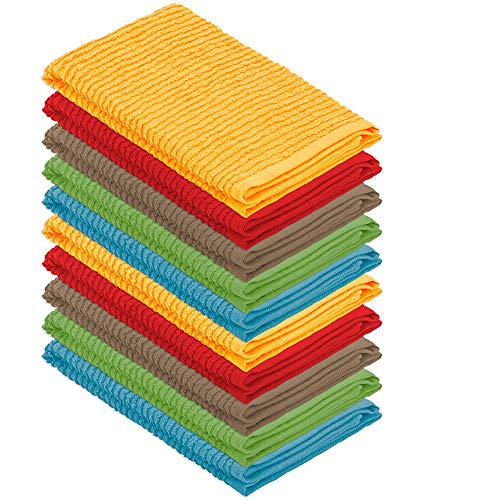 - DecorRack 10 Pack 100% Cotton Bar Mop, 16 x 19 inch, Ultra Absorbent, Heavy Duty Kitchen Cleaning Towels, Assorted Colors (10 Pack)
