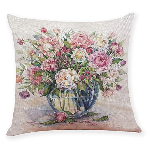 "Sothread Creative Graffi Style Flower Plant Print Cushion Cover Throw Pillowcase Home Decor Pillow Covers 18""x18"" (G)"