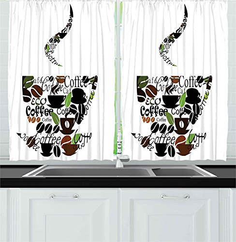 Ambesonne Collection Lettering Treatments Curtains