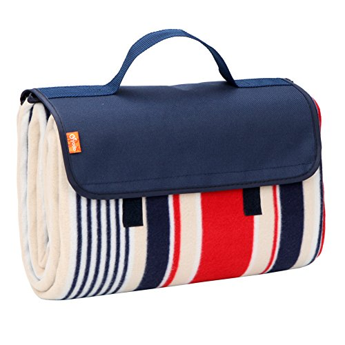 yodo Outdoor Picnic Blanket Water-Resistant for Camping Hiking Festivals,Navy/Red Stripe ()