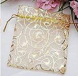 Danyoun 100PCS/set Gold Line Drawstring Sheer Organza Jewelry Pouches,...