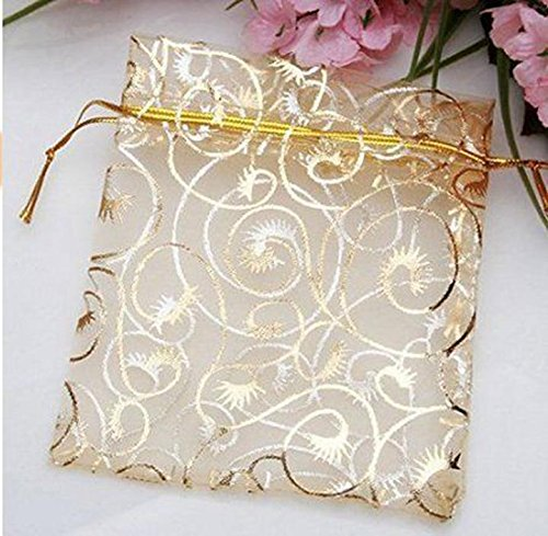 Danyoun 100PCS/set Gold Line Drawstring Sheer Organza Jewelry Pouches, Party Wedding Favor Gifts Bags, Luxury Jewelry Candy Gift Bags, Champagne Eyelash Pattern Drawstring Pouches
