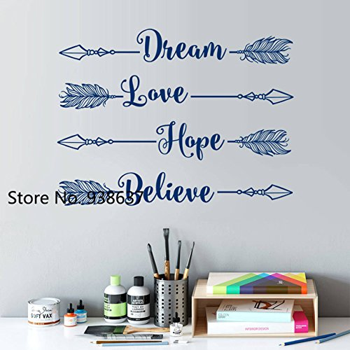 Hi5 Diy Vinyl Bedroom Decoration Decals Dream Love Hope Believe Arrow Wall Sticker Home Decor Study Room Creative Wall Decal Zb433 Amazon In Home Kitchen