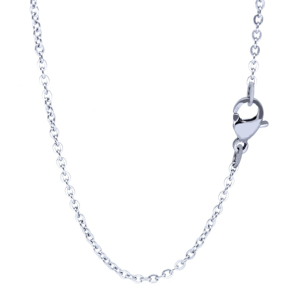 RINYIN Jewelry Long Stainless Steel Necklace Cute O Shine Rolo Chain 32