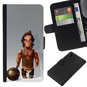 Músculos Caveman Club de Nieve- la tarjeta de Crédito Slots PU Funda de cuero Monedero caso cubierta de piel Para Sony Xperia Z1 L39