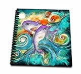 digital art drawing book - 3dRose db_116230_1 Cute Happy Purple Dolphins Swimming in The Ocean Digital Animal Nature Art-Drawing Book, 8 by 8-Inch