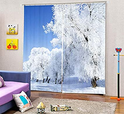 office drapes blinds wapel winter scenery luxury blackout 3d curtains living room bedding office drapes 240x260cm amazoncom