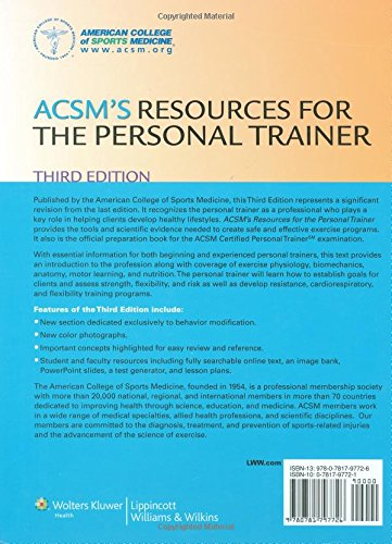 Buy ACSM\'s Resources for the Personal Trainer (American College ...