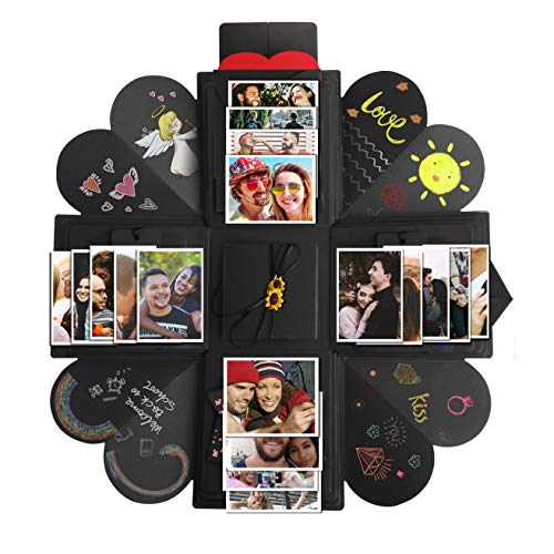 Creative Explosion Gift Box,DIY Handmade Photo Album Scrapbooking Gift Box for Valentine's Day,Birthday Party,Mother's Day & Engagement Anniversary Surprise Box (Black) (Four Sides) -