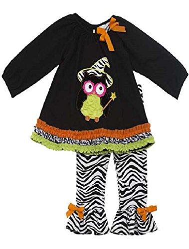 Rare Editions Little Girls' Black Zebra Wizard OWL